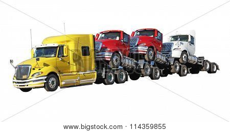 Brand new trucks isolated on white background