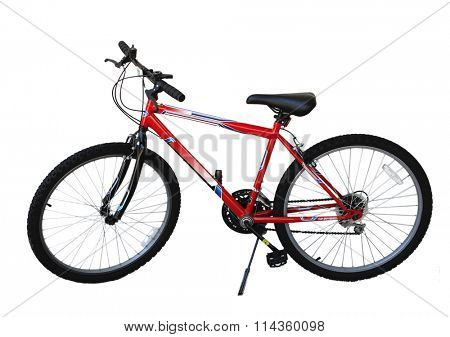 Single red bicycle isolated on white background