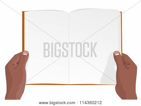 hands of african american holding a blank book with copy space for text