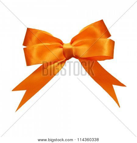 Orange double loops bow and ribbon isolated on white background