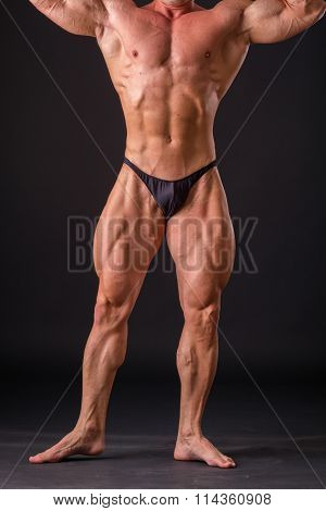 Bodybuilder posing in different poses demonstrating their muscles.