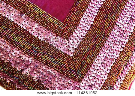abstract background satin with fusible beads