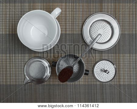 Top View Of Vietnamese Coffee Filter Ingredients With Ready Cup Of Coffee On Bamboo Placemat
