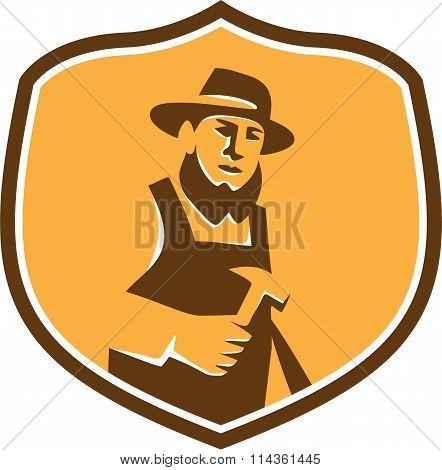 Amish Carpenter Holding Hammer Crest Retro