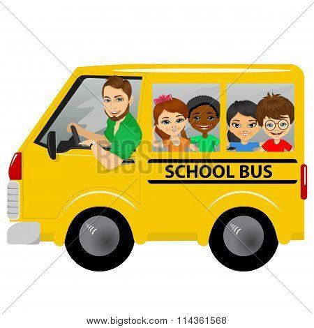 multiracial school kids riding a schoolbus