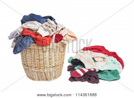 Basket with linen for laundry.