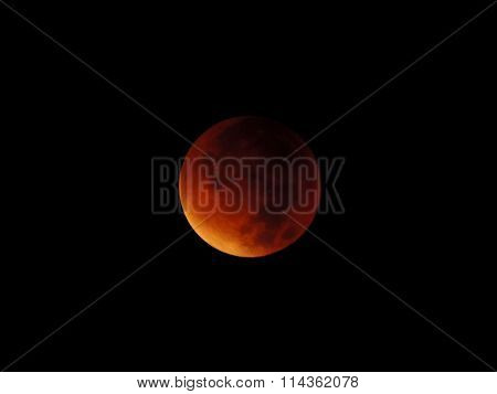 Red moon - the final phase of a total lunar eclipse