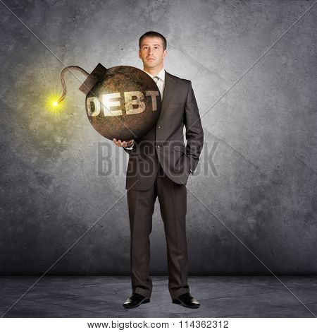 Businessman with big debt bomb