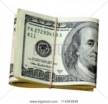 Bunch of US money isolated on white background