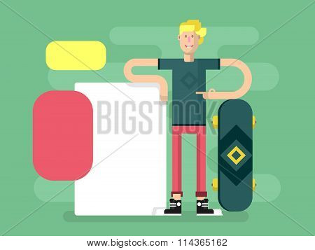 Skateboarder with advertising