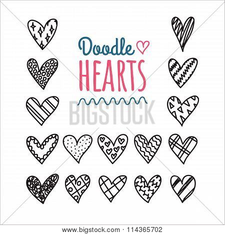 Hand Drawn Doodle Hearts With Different Pattern Icon Set