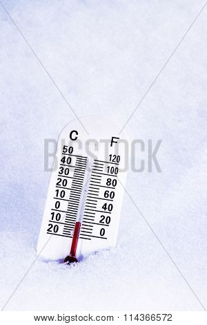 Thermometer In The Snow.