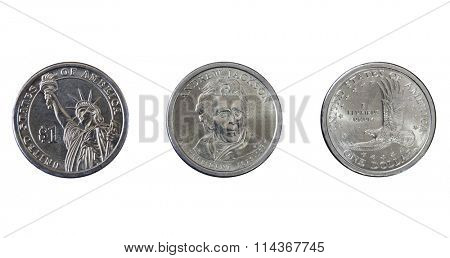 Group of three one dollar coins isolated on white