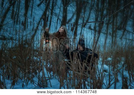 Girl And The Dwarf Death Go Through  Woods.