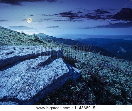 Stones On The Mountain Top At Night
