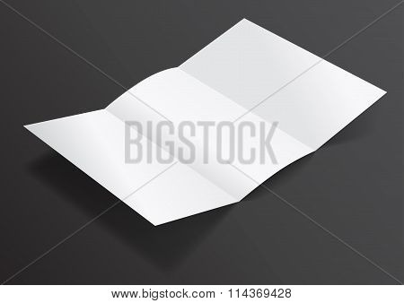 Open White Blank Folded Trifold Dl Flyer For Mock Up - Vector Illustration