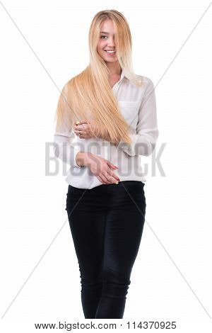 Hair. Beauty Woman with Very Long Healthy Hair isolated on a white background.