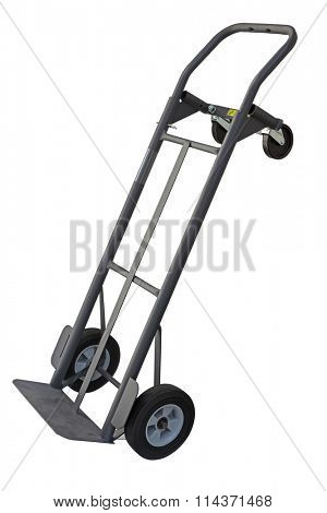 Dolly hand truck with four wheels convertible isolated on white