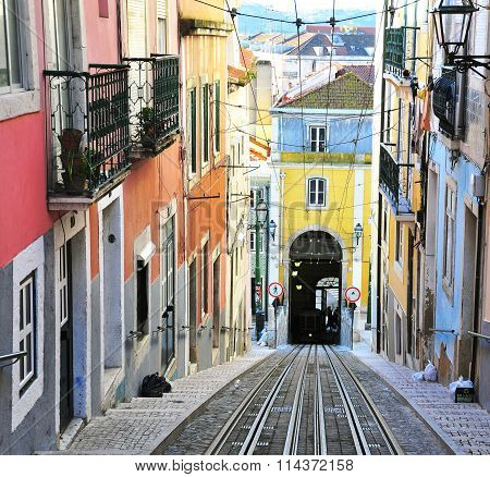 View Of The Colorful Street With Rails In Lisbon