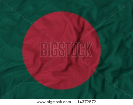 Closeup of Ruffled Bangladesh flag Fabric Ruffled Flag Background.