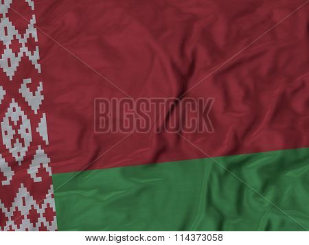 Close Up Of Ruffled Belarus Flag