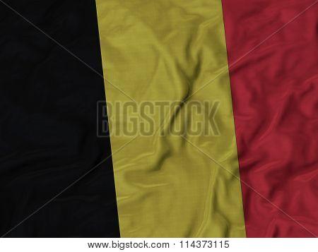 Close Up Of Ruffled Belgium Flag