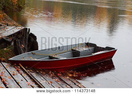 Rowboat at  Lower Tahquamenon Falls in Autumn