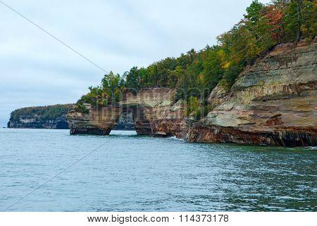 Lovers Leap rock arch on Lake Superior at Pictured Rocks National Lakeshore,  Munising Michigan Upper Peninsula.