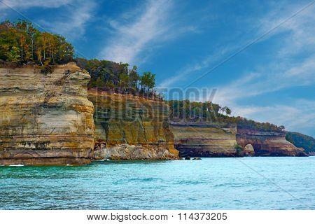 Pictured Rocks Cliffs National Lakeshore near Munising Michigan, Upper Peninsula