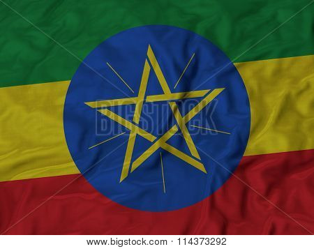 Close Up Of Ruffled Ethiopia Flag