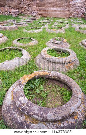 Antique Roman Jars, Archeological Site