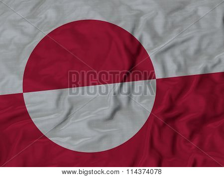 Close Up Of Ruffled Greenland Flag