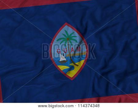 Close Up Of Ruffled Guam Flag
