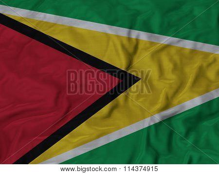 Close Up Of Ruffled Guyana Flag
