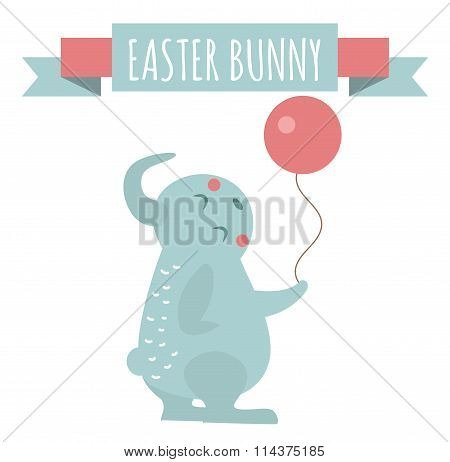 Cute bunny holding ball cute vector style.