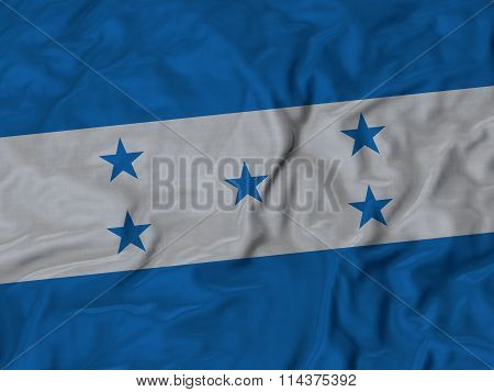 Close Up Of Ruffled Honduras Flag