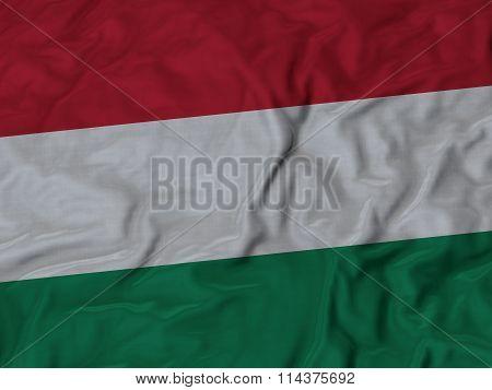 Close Up Of Ruffled Hungary Flag