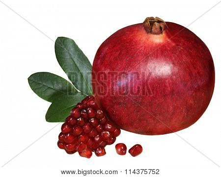 Pomegranate fruit and seed isolated on white background