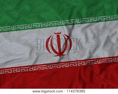 Close Up Of Ruffled Iran Flag