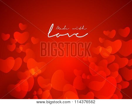 Beautiful glossy red hearts decorated greeting card and stylish text Made with Love for Happy Valentine's Day celebration.