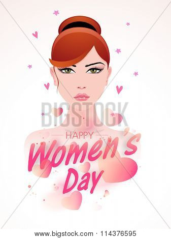 Flyer or Pamphlet with young fashionable girl on hearts decorated background for Happy International Women's Day celebration.