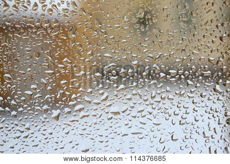 Texture of drops on window pane. Abstract textured background.
