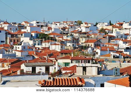 SKIATHOS, GREECE - SEPTEMBER 28, 2012: Looking down onto the roof tops of Skiathos Town, the Capital of the Greek island of Skiathos. The town was the location for scenes in the 2008 film Mamma Mia.