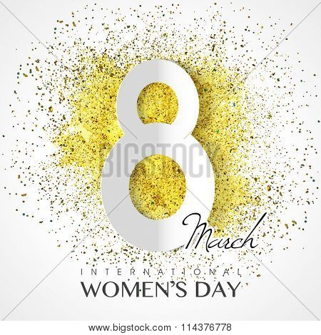 Stylish paper text 8 March on shiny glitter background for Happy International Women's Day celebration.