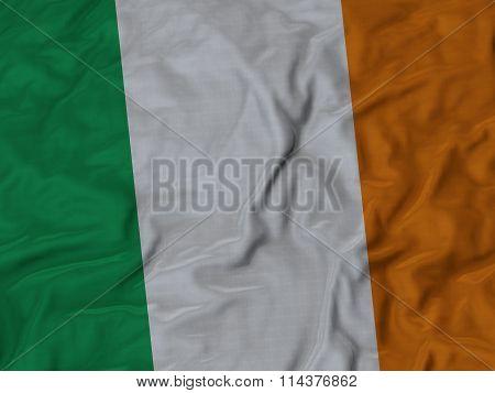 Close Up Of Ruffled Ireland Flag