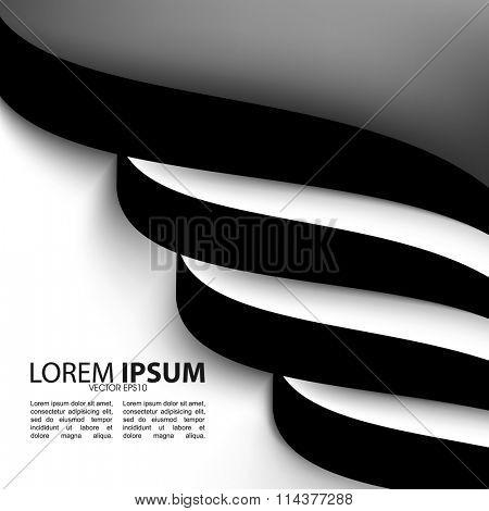 flat black and white spiral, wavy lines elements elegant background illustration. eps10 vector