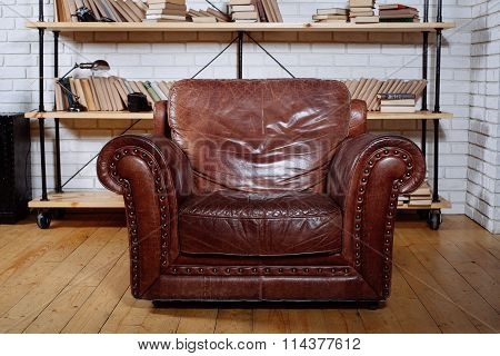 Classic Brown Leather Armchair In  Library