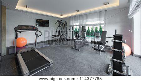 Fitness gym health club in luxury villa