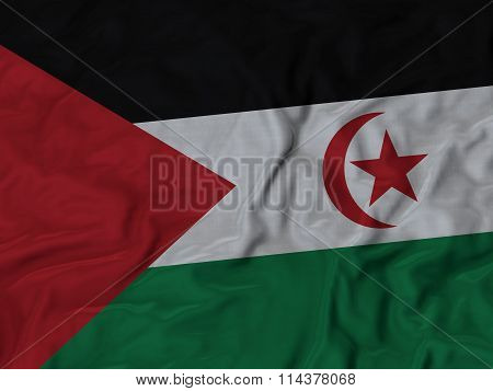 Close Up Of Ruffled Sahrawi Arab Democratic Republic Flag