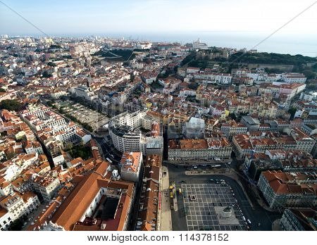 Aerial View of Alfama and Lisbon Skyline, Portugal
